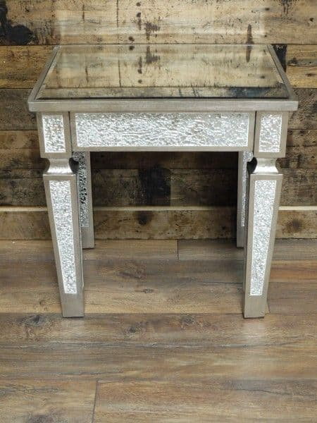 Crackle Mirrored Small Side Table Silver Sparkly Broken Glass